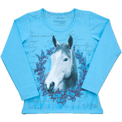 Pampress kék lovas hosszú ujjú póló
